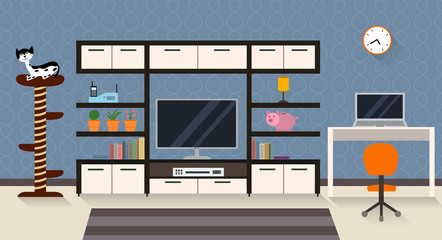 Interior of a living room with furniture and TV. Modern flat design illustration with long shadows