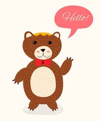 Cute cartoon bear with speech bubble. Suitable for cup and t-shirt printing, for notebook and sketchbook design. Vector illustration.