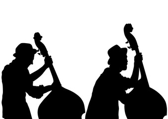 Man with an acoustic bass on white background