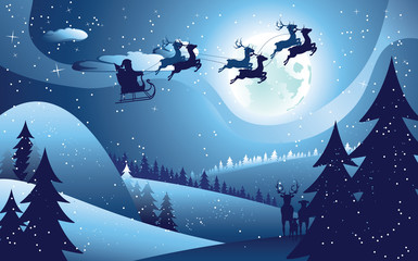 Flying Santa and Winter Forest
