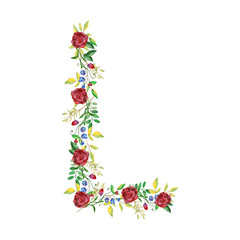 Watercolor Floral Monogram Letter