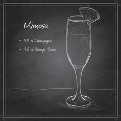 Cocktail alcohol Mimosa on black board