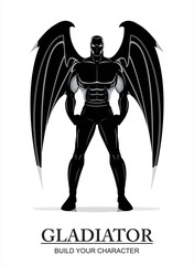 winged standing man on the white background