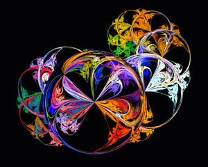 Abstract fractal design. Colorful bubbles on black.