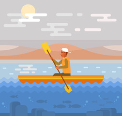 Rafting on river. Vector flat illustration