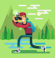 Photographer character. Vector flat illustration