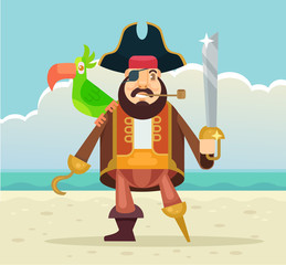 Pirate captain with parrot. Vector flat illustration