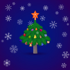christmas spruce tree . Vector illustration.