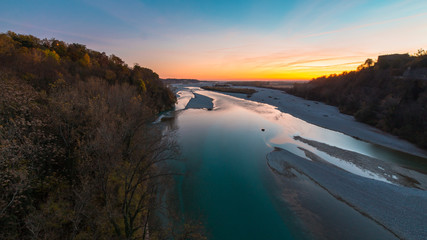 Sunset on Tagliamento river