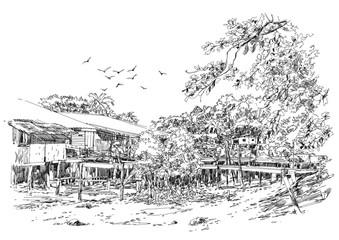 landscape sketch of fishing village in summer