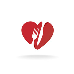 Fork and knife with heart shape lovely food logo. Cutlery sign.