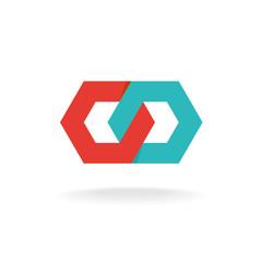Two hexagonal chain links logo. Tech connection concept.