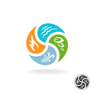 Four natural elements logo. Fire, water, air wind and nature pow