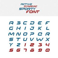 Sport techno font alphabet letters. Skew italic dynamic typeface