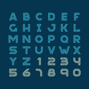 Maze tech letters linear style font. Construction design latin a