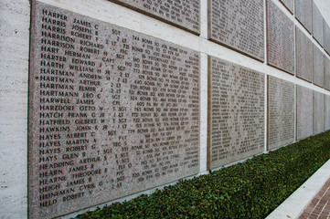 Names of Second world war casualties on a tribute wall in Floren