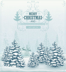Merry Christmas and Happy New Year forest winter landscape with snowfall and spruces vintage vector illustration