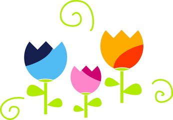 Spring illustration of colored tulips