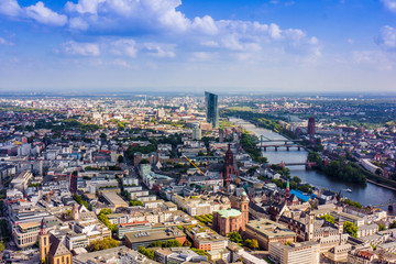 view to skyline of Frankfurt from Maintower in Frankfurt, German