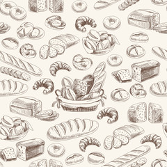 Vector bakery retro seamlrss pattern.