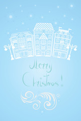 Christmas illustration with Winter Street and vignette