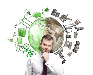 man thinking about environment, oil production and ecoenergy ico