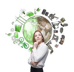 woman thinking about environment, oil production and ecoenergy i