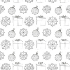 abstract background Christmas snowflakes, Christmas decoration and gift box. Snowflake Pattern Vector illustration
