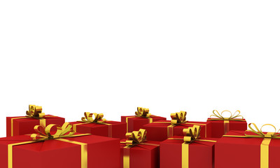 New Year red gift boxes with gold ribbons