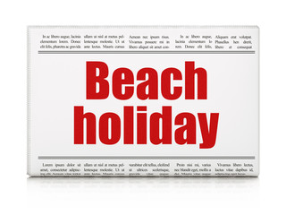 Vacation concept: newspaper headline Beach Holiday