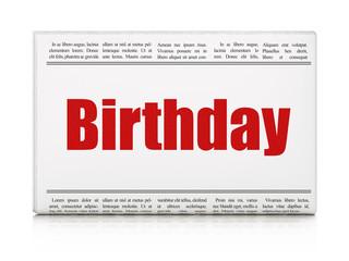 Entertainment, concept: newspaper headline Birthday