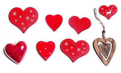 Set of different decorative hearts