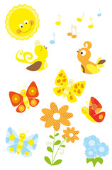 set of cute cartoon spring nature elements with birds, flowers, sun, butterflies