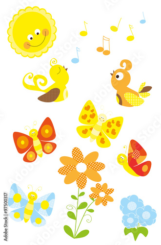 Set Of Cute Cartoon Spring Nature Elements With Birds Flowers Sun
