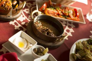 Arabic Traditional Food/Arabian Tasty set menu meals/ Egyptian Arabic food on table