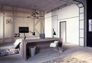 Рабочее место в квартире в стиле лофт