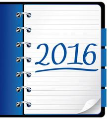 2016 agenda. Blue office notebook. Illustration.