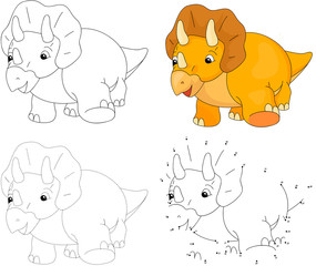 Cartoon Triceratops. Vector illustration. Dot to dot game for ki