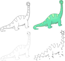 Cartoon diplodocus. Vector illustration. Dot to dot game for kid