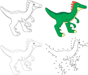 Cartoon guanlong. Vector illustration. Dot to dot game for kids