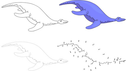 Cartoon pliosaur. Vector illustration. Dot to dot game for kids