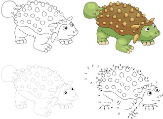 Cartoon ankylosaurus. Vector illustration. Dot to dot game for k
