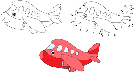 Cartoon airplane. Vector illustration. Coloring and dot to dot g