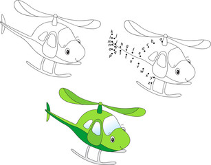 Cartoon helicopter. Vector illustration. Coloring and dot to dot