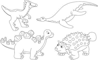 Set of pliosaur, stegosaurus, ankylosaurus and guanlong. Colorin