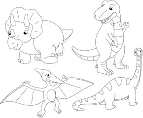 Set of diplodocus, tyrannosaur, pterodactyl and triceratops. Col