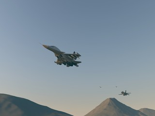 Turkish fighter attack on Russian bomber. Attack of the Turkish aircraft in the Russian plane. Raster illustration. Computer graphics. 3d model. The re-enactment of the battle over the desert