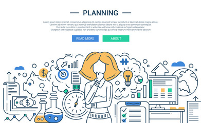 Illustration of modern line flat design planning process composition and infographics elements with a woman thinking. Header, banner for your website