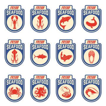 seafood labels set