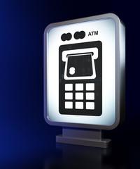 Banking concept: ATM Machine on billboard background